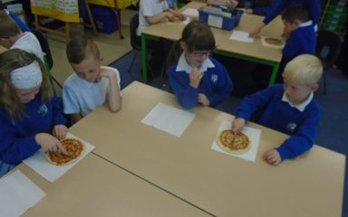 Halving and quartering with pizzas!