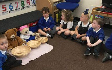 Nursery enjoy porridge with the 3 bears.