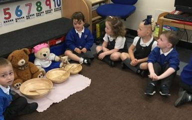 Nursery enjoy porridge with the 3 bears.