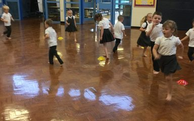 Enjoying our first PE lesson