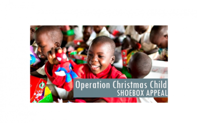 We are collecting shoe boxes until the 9th November