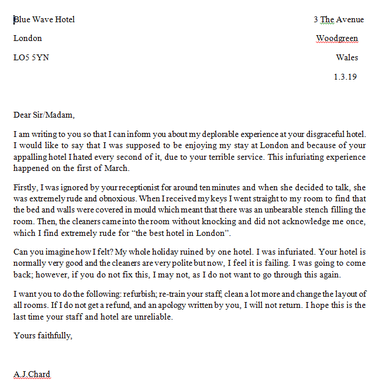 Formal Letters of Complaint!