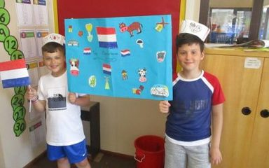 Welkom in Nederland!-The Oaks representing Holland on School Games Day.